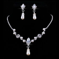 Bridal Diamante Crystal Ivory Pearl Drop Necklace Earrings Wedding Jewellery Set