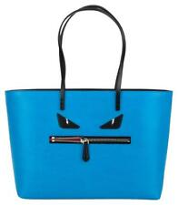 FENDI Elite Calfskin Medium Monster Bag Buggies Roll Tote Royal Blue
