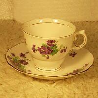 Vintage Colclough Fine Bone China Purple Green Flowers Tea Cup & Saucer England