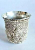 Vintage Silver Plated Judaism Wine Cup Filigree Style Beautiful Pattern Tall 8cm