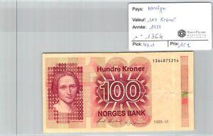 BILLET NORVEGE - 100 kroner 1988 n°1364 - Pick 43d