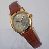 Glycine Damenuhr Quartz Uhr mit Lederband und Datum 3689.20 Vergoldet Watch Neu