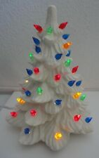 "White Ceramic Tabletop Christmas Tree 8"" Multi Color Lights"