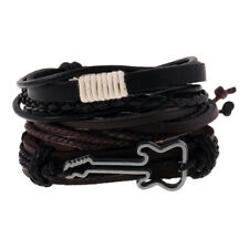 Black Punk Guitar Men Women Leather Bangle Bead Cuff Wristband Bracelet 4pc Set