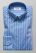 NWT ETON CONTEMPORARY FIT BUTTON DOWN LONG SLEEVE SHIRT 15.5 EUR 40 BLUE BOLD
