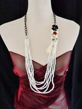 Statement Necklace Long 40cm Chain & multi Bead - White Raffia & Silk Flower 117