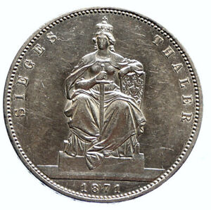 1871 GERMANY GERMAN STATES PRUSSIA WILHELM I Defeated France Silver Coin i96093