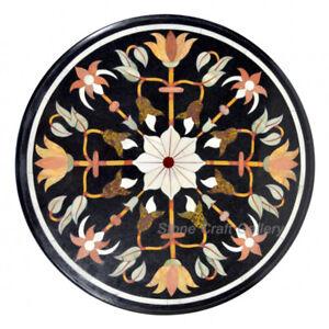 "21"" Marble Coffee Table Pietra Dura Semi Precious Stones Inlay Home Decor"