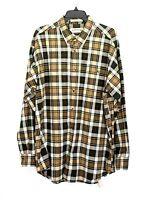 Orvis Mens L Green Tan Plaid Button Front Shirt Long Sleeve Heavy Cotton - B