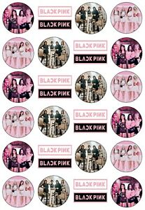 24x black pink kpop Edible Cupcake Toppers Images Wafer Paper 4cm uncut