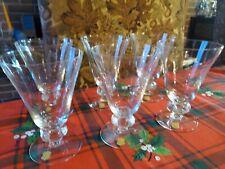 New Vintage  afors glass Footed Stem Vine GLASSES Set of 6 Made in Sweden 5.5