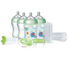 Nuby Baby Natural Touch Starter Set 4 Bottle, Pacifier, Anti Colic, Green NEW