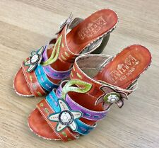 L'Artiste Spring Step Begonia Sandals Size 6 Shoes Heels Floral Bright Holiday