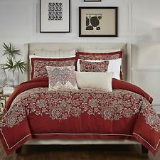 CROSCILL  ADRIEL RED FLORAL EMBROIDERED  3 PC  KING COMFORTER SHAMS