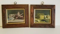 VINTAGE PAIR OF SOLID WORM WOOD FRAMES WITH CATALDA FINE ARTS PRINTS