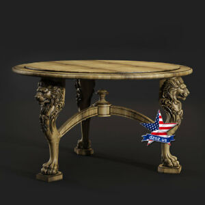 Carved wood 3D Table with Lion desk kitchen painting art