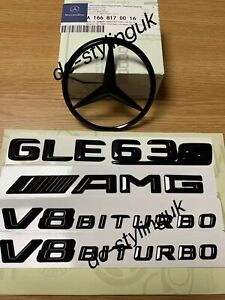 Gloss Black Rear Boot Star Badge & Emblems for Mercedes GLE63s AMG W166 SUV
