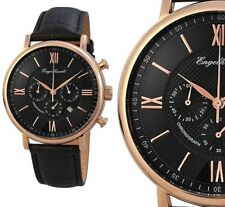 Herren Armbanduhr Chronograph Schwarz/Rosegold Lederarmband von ENGELHARDT