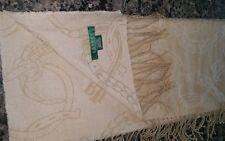 """Lauren Ralph Lauren Wool Scarf Beige Horseshoe Equestrian 75"""" x 11.25"""""""