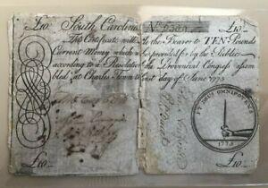 1775 South Carolina large 10 ten pound note emblem of hand holding a sword