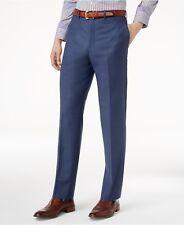 $194 CALVIN KLEIN Mens Slim Fit Wool Trousers Blue FLAT FRONT PANTS 36W 30L