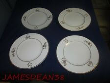 JCPENNEY HOME COLLECTION HOLIDAY WISHES PORCELAIN PLATES LOT OF 4 CHRISTMAS XMAS