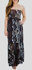 $210 BCBG MAX AZRIA WOMEN'S BLACK BROWN PRINTED OFF SHOULDER MAXI DRESS Sz XL