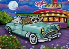 Original Raccoon Kitten Cats 50's Car Buick Diner Full Moon Summer ACEO Print