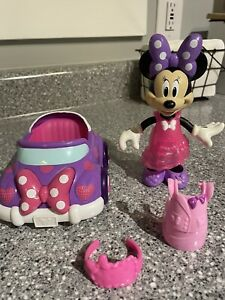 Disney Minnie Mouse Bowtique Dress Up Doll Snap N' Style Toy Lot W/ Car