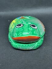 Colorful Ceramic Frog Shaped Trinket Box - Mexican Folk Art. 4 Inches