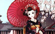 Incorniciato stampa-Cartoon Giapponese Geisha (PICTURE POSTER Oriental JAPAN ART)