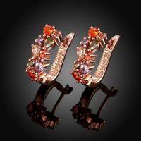 18K Rose Gold Plated & Swarovski Crystal Latchback Earrings