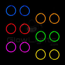 "100 x 8"" GLOW STICKS HOOP EARRINGS - CLIP ON - ASST NEON COLORS - GLO LITE PARTY"