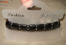 Doubleside Stretch Magnetic Healing Hematite Charm Fashion Bracelet Band