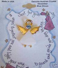Angel Pin Austrian Crystal Birthstone Dec Blue Zircon Howard's Mfg,