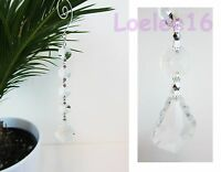 6 Pc Crystal Hanging Jewel Clear Leaf Ornament Wedding Garland 7""