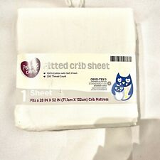 parents choice solid white 100% cotton fitted crib sheet