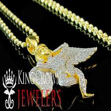 Yellow Gold Silver Mini Angel Jesus Simu Diamond Piece Pendant Charm Chain Set