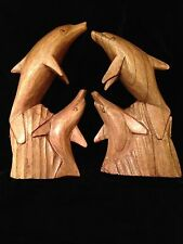 Dolphin Wood Carvings - Set of 2 - Made in Brazil
