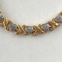 """Vintage Hugs & Kisses Sterling Silver Choker Necklace 16"""" Valentine's 925 DBJ"""