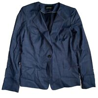LAFAYETTE 148 Chambray Denim Blazer Single Button Blue Blazer Jacket Size Small
