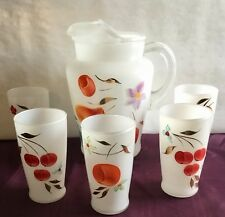 Bartlett Collins Pitcher with 5 Tumblers Gay Fad Fruits White