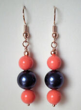 Dark blue 10mm and coral coloured 8mm shell pearls rose gold plated drop earring
