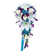 Cascade Wedding Bouquet: Malibu Turquoise, White, Purple Artificial Flowers