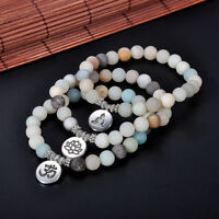 Women Men Matte Amazonite Stone Lotus Buddha Yoga Bracelet 8mm Chakra Mala Beads
