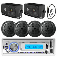 "Pyle Bluetooth Boat Radio, Black Marine 5.25"" and 3.5"" Speakers with Antenna"