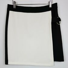 Very Skirt Short Mini Zipped Wrap Cream Black Block Colour Size UK 12