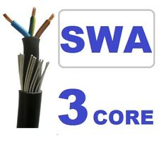30 Metre SWA BLACK 1.5mm 3 Core Steel Wire Armoured Mains Wire Cable 240v