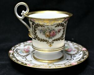 BEAUTIFUL LIMOGES FLORAL CUP AND SAUCER