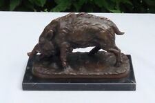Statue Sanglier Animalier Chasse Style Art Deco Bronze massif Signe